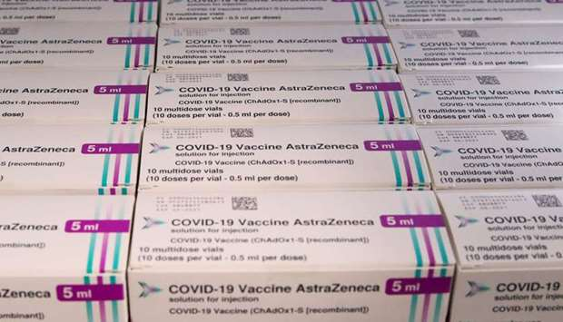 Boxes of AstraZeneca Covid-19 vaccine