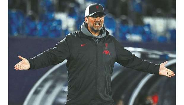 Liverpool's manager Jurgen Klopp reacts during the UEFA Champions League quarter-final match against