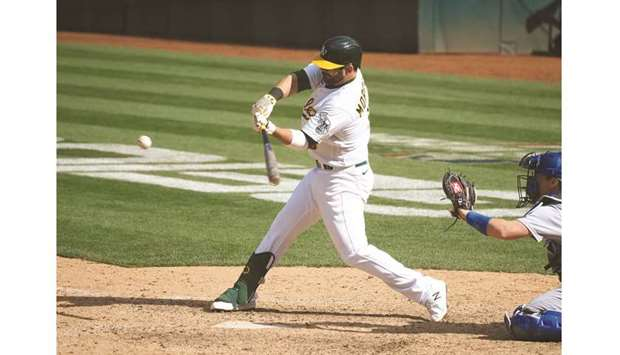 Oakland Athletics first baseman Mitch Moreland hits an RBI single for a walk-off win against the Los
