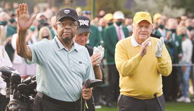Honorary starters Lee Elder and Jack Nicklaus of the US with South Africa's Gary Player during the c
