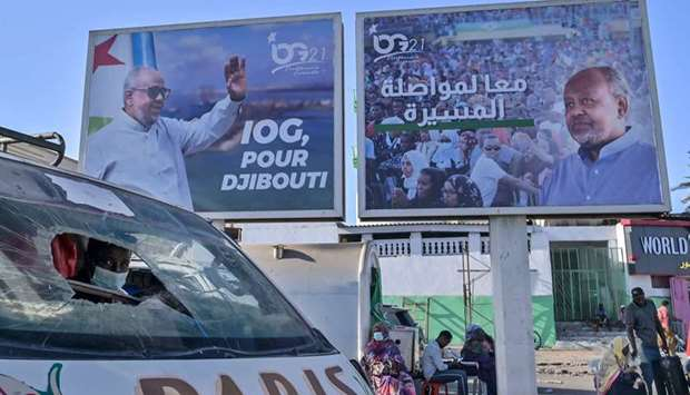 Giant campaign banner advertising the candidacy of Djibouti President Ismael Omar Guelleh