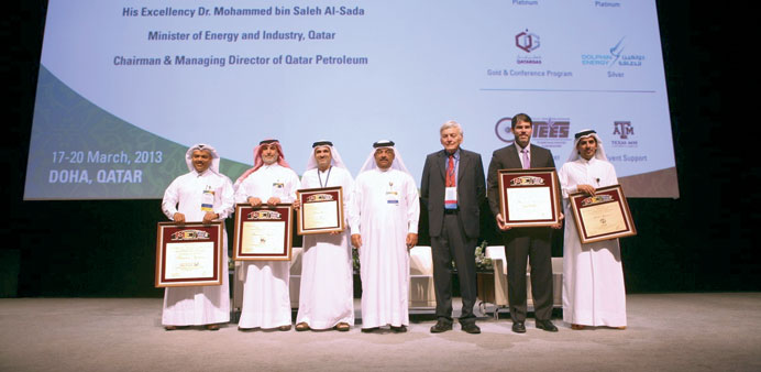 Various sponsors of the second Middle East Turbomachinery Symposium being honoured at the event.