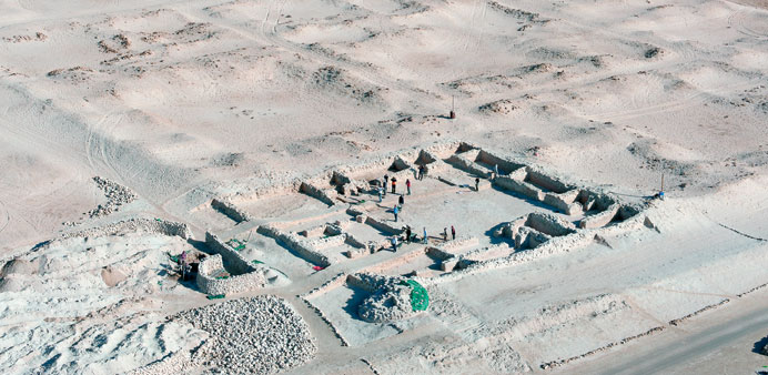 Excavation of southeastern courtyard of the palatial compound at Al Zubarah.