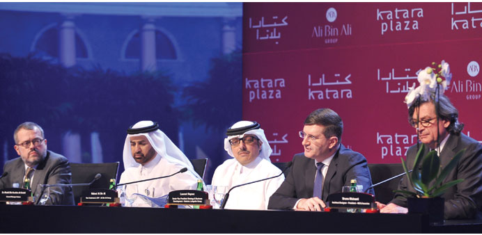 Dr al-Sulaiti and Nabeel Ali bin Ali flanked by other stakeholders in the Katara Plaza project at th