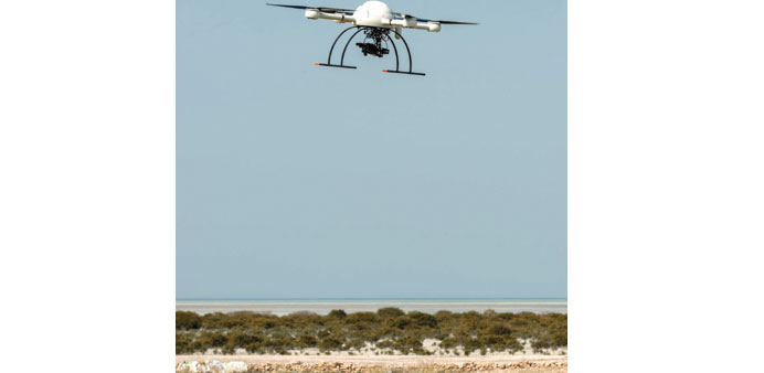 An UAV recording images for the 'Lines in the Sand' project.