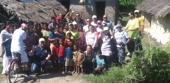 Rota volunteers at a village in Nepal.