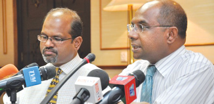 Parliament speaker Abdullah Shahid, right, deputy speaker Ahmed Nazim during a media conference in M