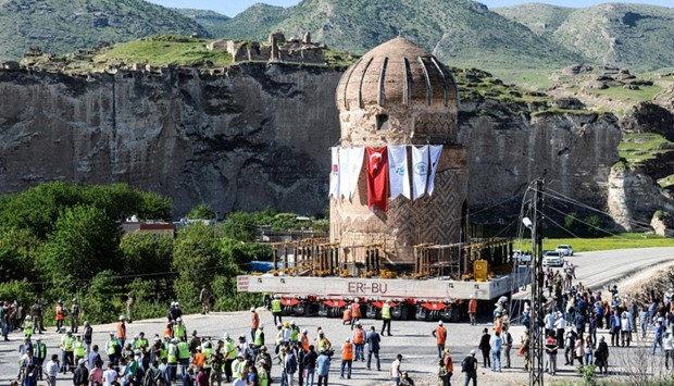 The tomb of Zeynep Bey is carried on a rolling structure  at Hasankeyf