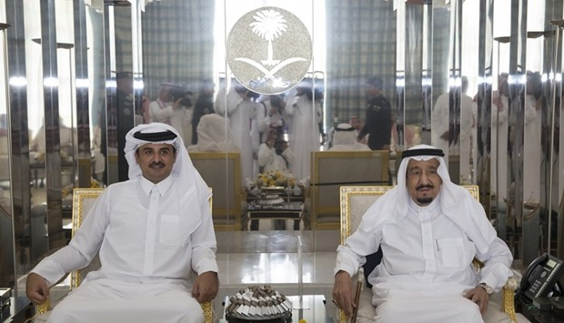 HH the Emir Sheikh Tamim bin Hamad al-Thani met with the Custodian of the Two Holy Mosques King Salm