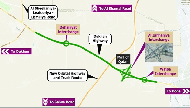 Map of the completed Al Jahaniya, Al Dehailiyat and Al Wajba interchanges