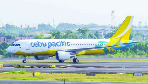 A Cebu Pacific aircraft prepares to take off