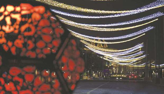 Light decorations at Katara.