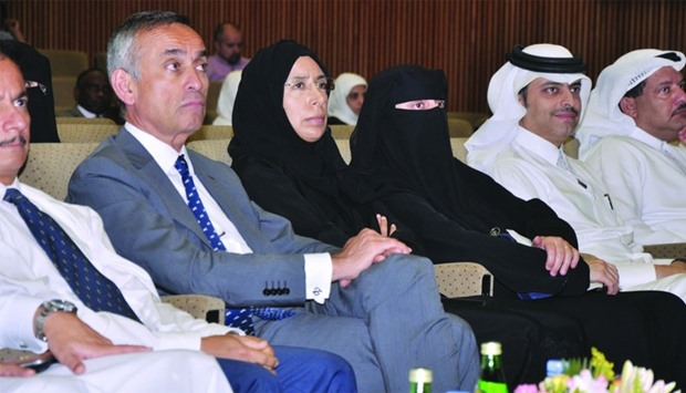 HE the Minister of Public Health Dr Hanan Mohamed al-Kuwari and other dignitaries at the National Ca