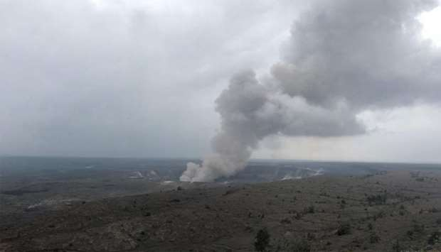 Smoke from the Kilauea volcano rises from the Halema'uma'u crater on the Big Island in Hawaii