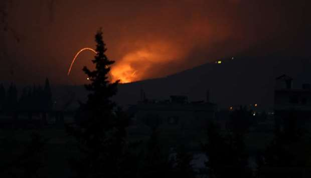 Fire and explosions are seen in what purported to be the Mountain 47 region, countryside south of Ha