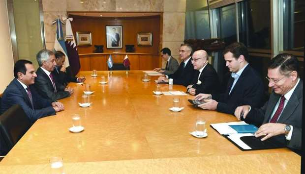 HE the Minister of State for Foreign Affairs Sultan bin Saad al-Muraikhi holding a meeting with the