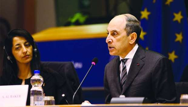 Qatar Airways Group Chief Executive Akbar al-Baker addressing the European Parliament's Committee on