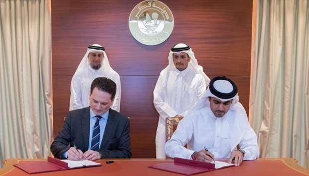 UNRWA Commissioner-General Pierre Krahenbuhl and Director-General of the Qatar Fund for Development