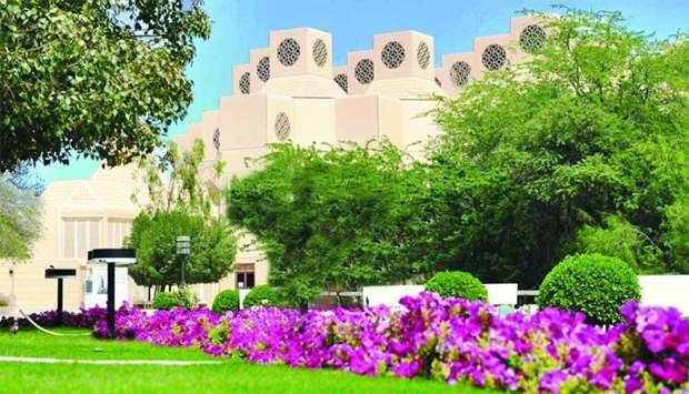 A view of a section of Qatar University campus