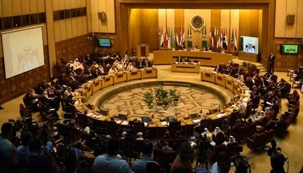 A general view of the Arab League Foreign Ministers meeting in Cairo.