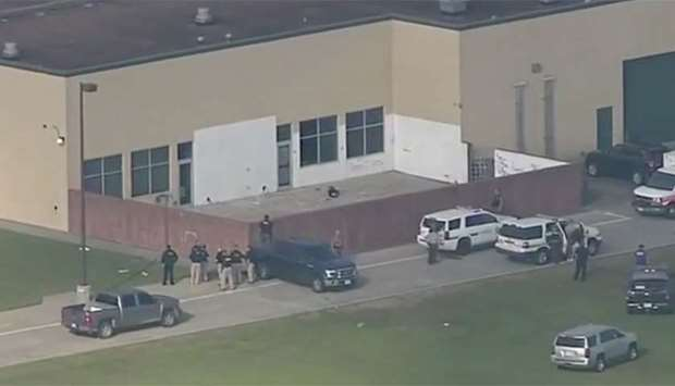 Police at the high school in Santa Fe, Texas