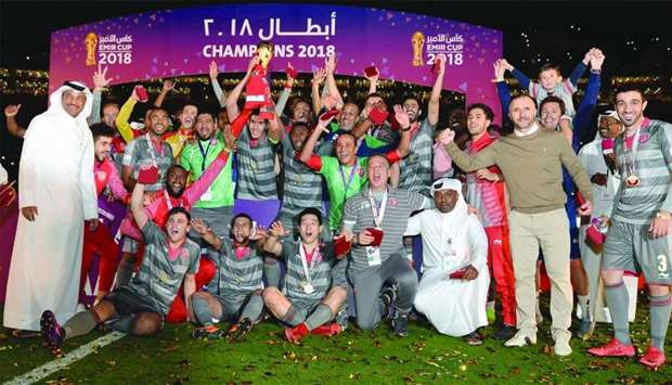 The victorious Duhail squad. PICTURE: Noushad Thekkayil