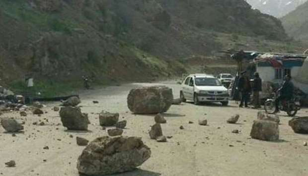 After the earthquake boulders are seen on roads