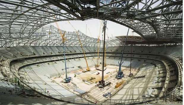 An interior view of the under construction Al Bayt Stadium