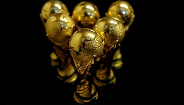 Scaled-down replicas of 2018 FIFA World Cup trophy
