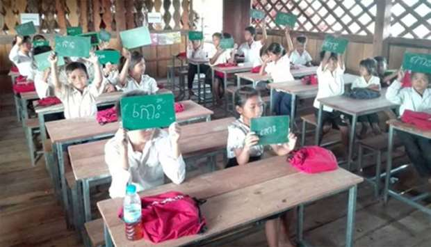 Students at Som Roung School in northeast Cambodia.