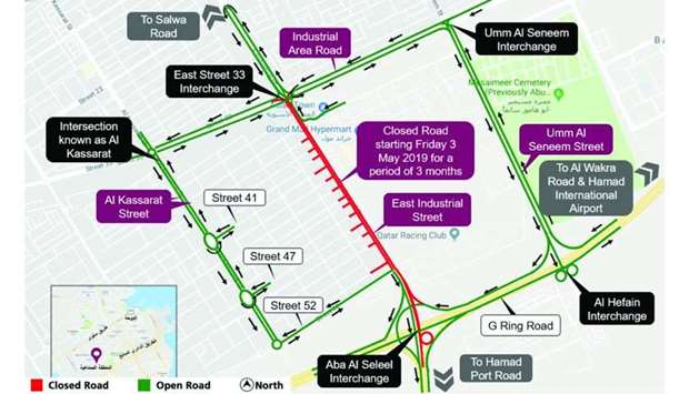 Traffic diversion along East Industrial Street Extension