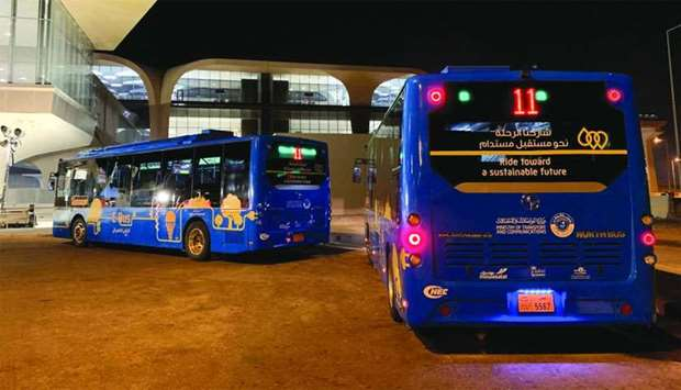 Electric buses by Mowasalat holding services during Amir Cup final at Al Wakrah Stadium.