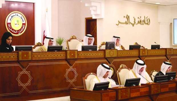HE the Speaker of the Advisory Council Ahmed bin Abdullah bin Zaid al-Mahmoud chairing on Monday's s