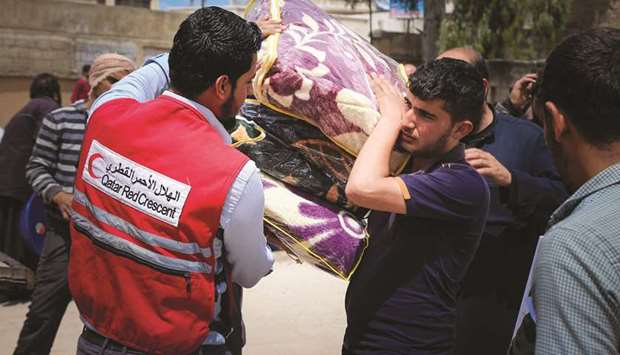QRCS distributes relief items in northern Syria