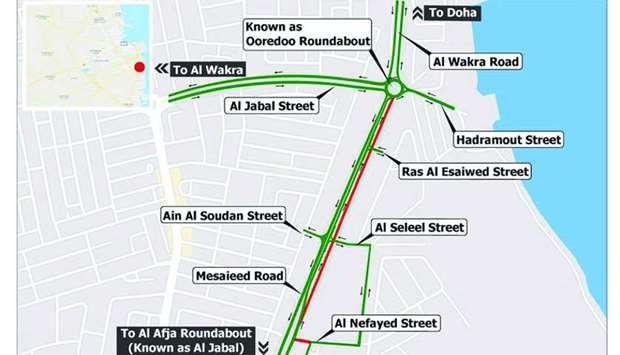 Map of Al Jabal Roundabout and Ooredoo Roundabout