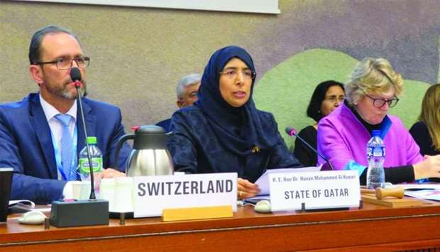 HE the Minister of Public Health, Dr Hanan Mohamed al-Kuwari, speaking at the symposium in Geneva.