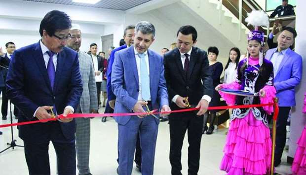 HBKU president Dr Ahmed M Hasnah and other dignitaries open the Islamic Finance Centre in Kazakhstan