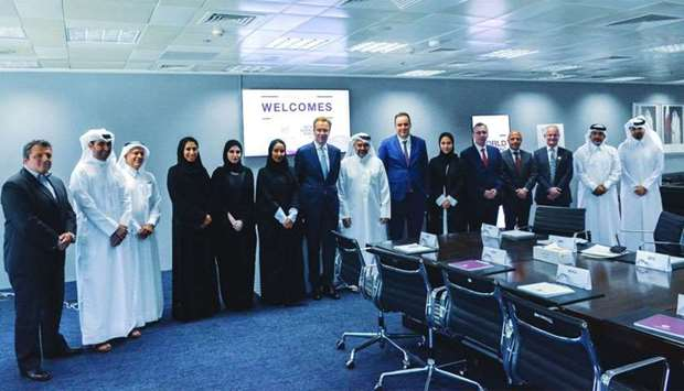 The WEF delegation led by Brende in a meeting with high-level representatives from the QFC.