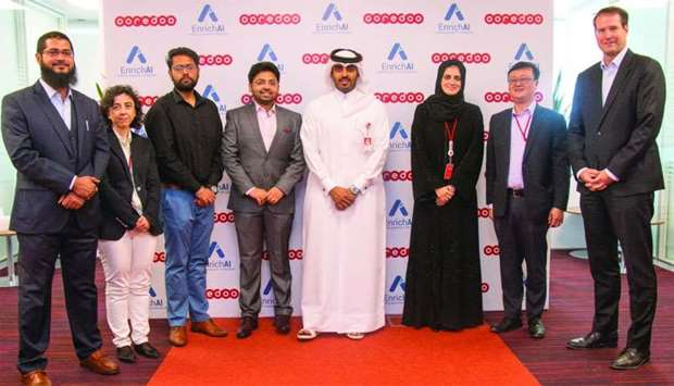 Ooredoo and EnrichAI executives during the launch of the new Internet of Things solutions for Qatar.