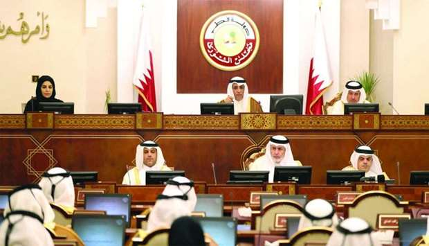 HE the Advisory Council's Deputy Speaker Mohamed bin Abdullah al-Sulaiti chairing Monday's session