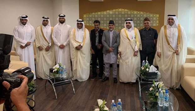Qatar and Nepal officials pose for a photo after the inauguration of Qatar Visa Centre in Kathmandu.