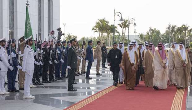 HE the Prime Minister Sheikh Abdullah bin Nasser bin Khalifa al-Thani being welcomed by Deputy Gover