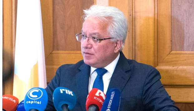 Justice Minister Ionas Nicolaou during a press conference in Nicosia. AFP/HO/PIO