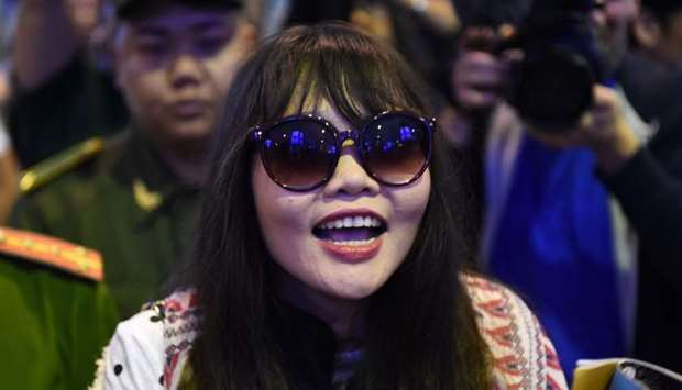 Vietnamese national Doan Thi Huong arrives in Hanoi following her release from a Malaysian prison