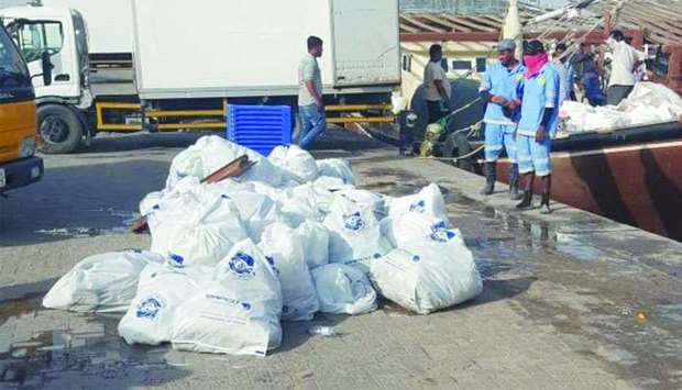 Trash collected from Al Khor Harbour.
