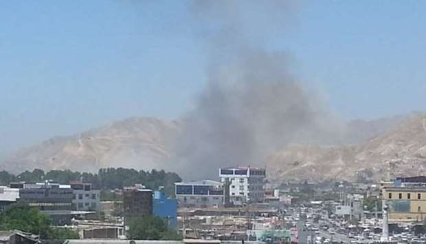 Smoke rises from after the explosion in the city of Pul-e-Khumri