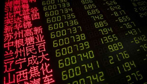 Stock price movements are seen on a screen at a securities company in Beijing
