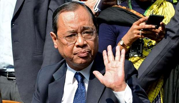 Ranjan Gogoi, a Supreme Court judge, gestures as he addresses the media at a news conference in New