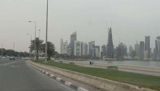 Traffic yet to pickup on the busy Corniche Road