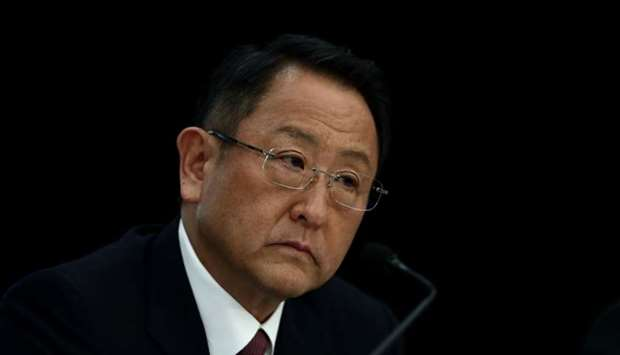 Akio Toyoda, president of Japan's auto giant Toyota Motor, attends a press conference